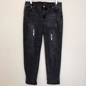Baccini Black Washed Distressed Jeans - Size 10